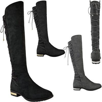 Damen Stretch Breit Bein Oberschenkel Overknee Stiefel Niedrig Gold Absatzhöhe - Breite Breite Oberschenkel Hohe Stiefel