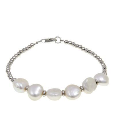 "Imperial Pearls 9-10mm Cultured Baroque Pearl Beaded Bracelet  7-1/4""  HSN $90"