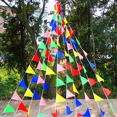 Colorful Pennant Banner (125ft Multi-colors Triangle Pennant Nylon Flags String Banner Buntings)