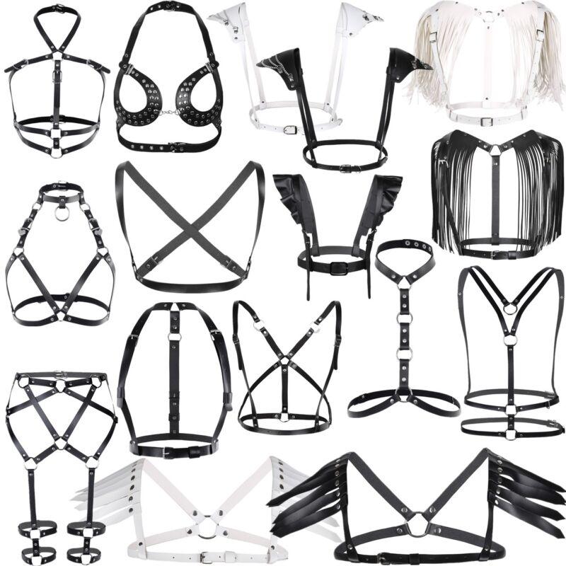 Women Lingerie Pu Leather Bra Adjustable Body Chest Harness Belt