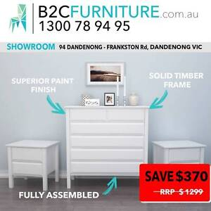 3PCE Chest of drawers suite, tallboy, bedside tables, White,Brown Dandenong South Greater Dandenong Preview
