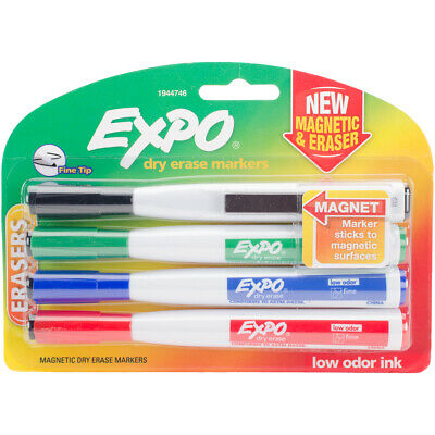 Magnetic Dry Erase Fine Marker With Eraser 4pkg-assorted