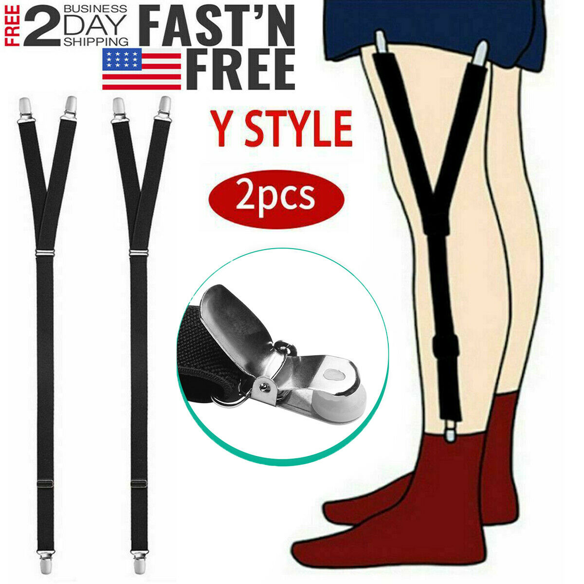 Y Style Shirt Stays Mens Garters Suspenders Military Uniform
