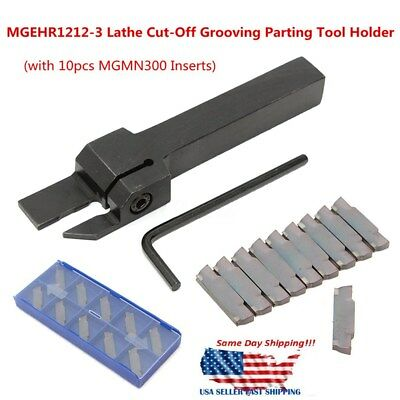 10pcs Mgmn300 Insert Mgehr1212-3 Lathe Cut-off Grooving Parting Tool Holder