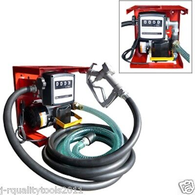New 110v Electric Oil Fuel Diesel Gas Transfer Pump Wmeter 12 Hose Manual