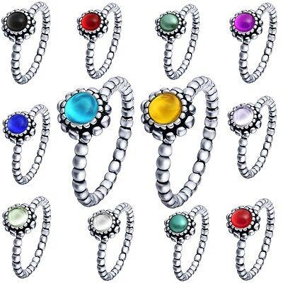 (Brand Women Genuine Jewelry Fine Birthday Stones Wedding Silver Rings Size 6-9)