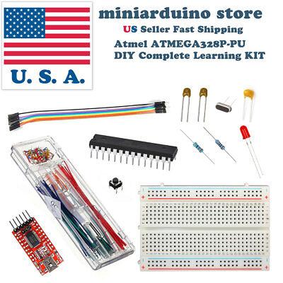 Atmega328p Diy Arduino Learning Kit Ft232rl 22pf 100nf 16mhz Crystal Breadboard