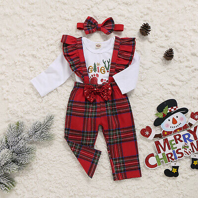 US Newborn Baby Girl My First Christmas Tops Romper Bib Pants Hat Outfit Clothes ()