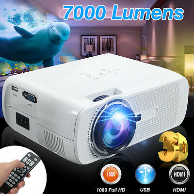7000 Lumens 1080P 3D Projector Multimedia HD WiFi LED Home Theater B VGA