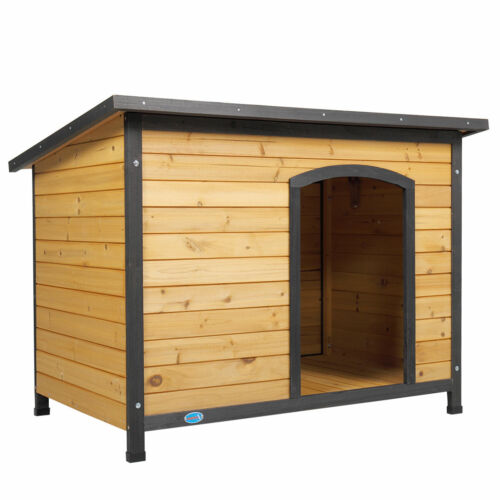 "43"" Outdoor Deluxe Slant-Roofed Wood Large Dog Pet House Kennel w/Open Entrance"