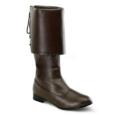 Funtasma Matte Brown Fold Over Cuff Pirate Boots Cosplay Halloween Mens - Mens Brown Pirate Boots