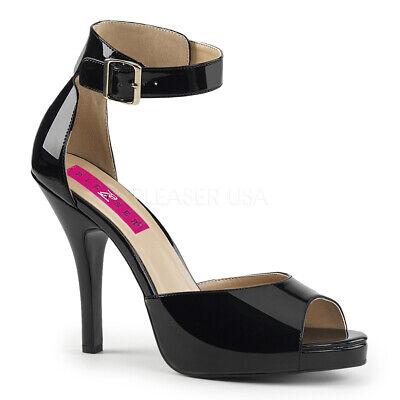 Pleaser EVE-02 Women's Black Patent Platform Closed Back Ankle Strap Heel - Closed Back Platform Sandal