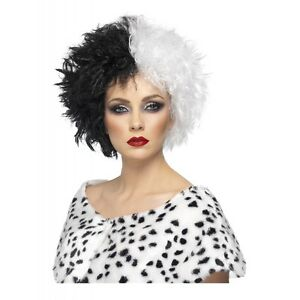 Cruella Deville Wig Adult Halloween Costume Fancy Dress