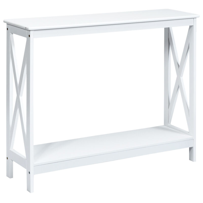 2-Tier Console Table X-Design Bookshelf Sofa Side Accent Table w/Shelf White