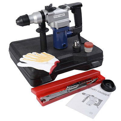SDS Electric Hammer Drill 3 Mode Rotary 900W/240V w/Case Chisels+ Keyless Chuck