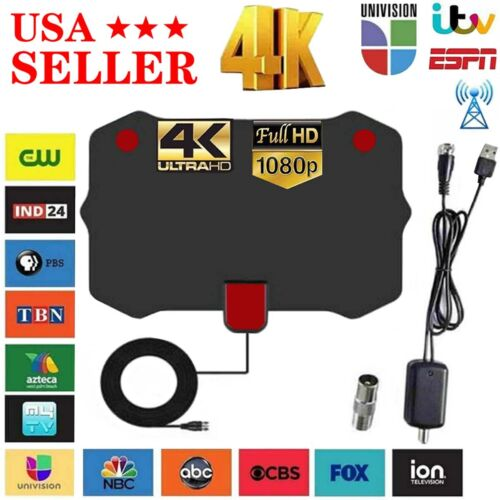 3600 Miles Range TV Antenna Digital HD Antena Indoor HDTV 1080P 4K 13ft Cable