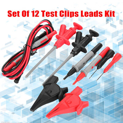 Test Clip Lead Kit For Fluke Multimeter Heavy Duty Banana Tester Probe Set Of 12