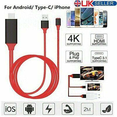 Lightning to HDMI Digital TV AV Adapter Cable Applie iPhone iPad 5 6 7 8 Plus X