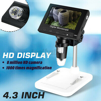 4.3 1000x Lcd Monitor Electronic Digital Video Microscope 8 White Led Magnifier
