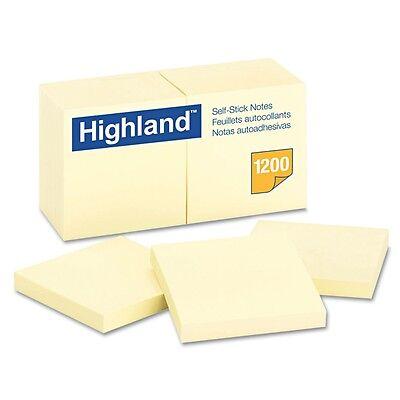 """Highland - Self-Stick Pads, 3"""" x 3"""", Yellow, 100 Sheets/Pad - 12 ct."""