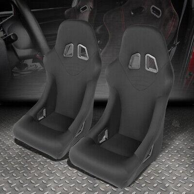 - PAIR BLACK FIXED WOVEN FABRIC SPORTS SPEC RACING SEATS+UNIVERSAL SLIDER