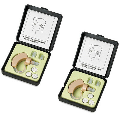 A Pair Of Digital Hearing Aid Aids Kit Behind The Ear Bte Sound Voice Amplifie