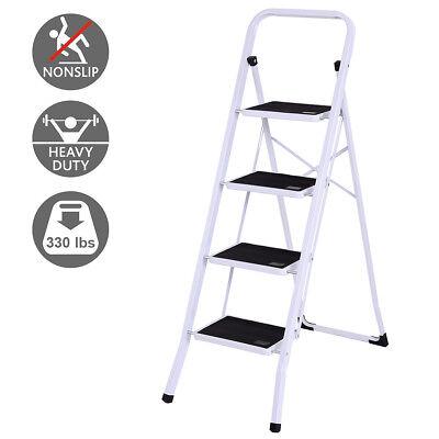 4 Step Ladder Folding Steel Step Stool Anti-slip Heavy Duty with 330Lbs Capacity