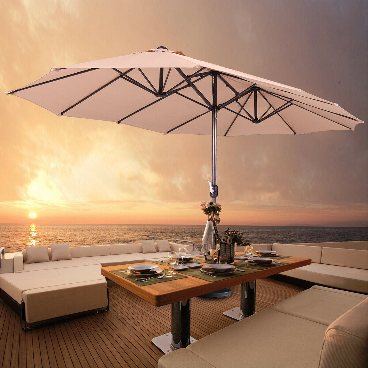 15' Double-sided Large Patio Twin Umbrella Outdoor Garden Ma