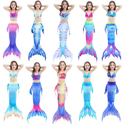Girl Costums (Kids Girl Mermaid Tail Bikini Set - Swimmable Tail Swimming Swimwear)