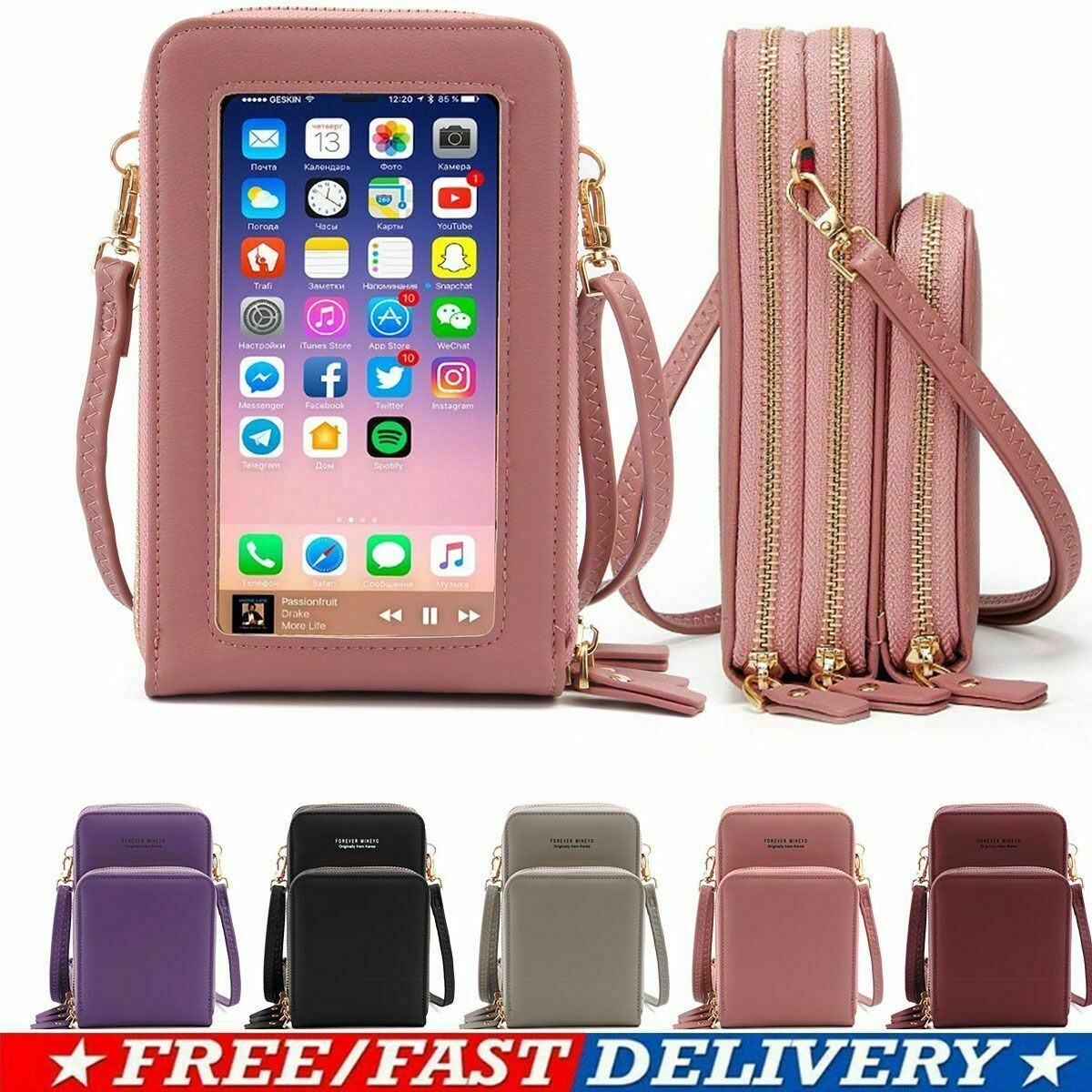 Women Crossbody Cellphone Purse Touch Screen RFID Blocking Wallet Shoulder Bag Clothing, Shoes & Accessories