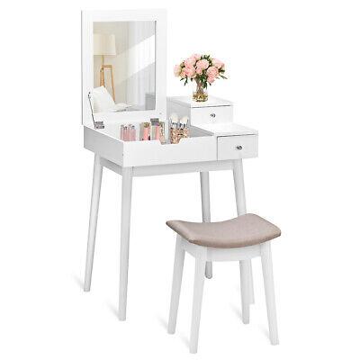Vanity Dressing Table Set Flip Mirror Desk Furniture Stool W
