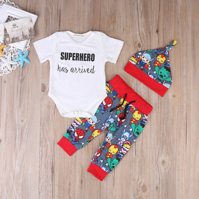 US Newborn Toddler Baby Boy Outfit Superhero Romper T-shirt+ Pants Hat 3pcs Set
