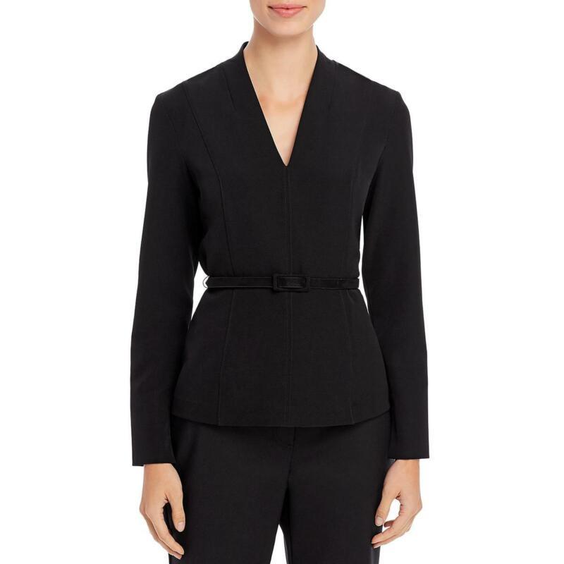 Donna Karan Womens Fitted V-Neck Blouse Top Shirt BHFO 2911