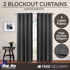 Free Delivery: 2 x Luxury Eyelet Blockout Curtain Room Darkening Homebush Strathfield Area Preview