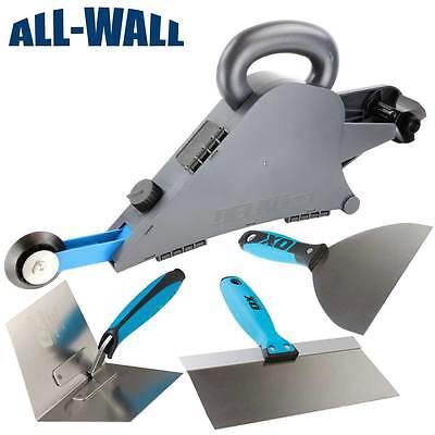 Delko Drywall Banjo Taping Tool Wcorner Wheel 3-pc Ox Pro Knifetrowel Set