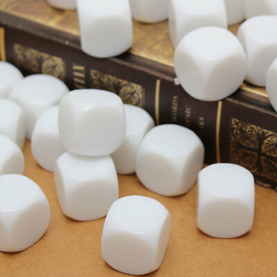 25PCS 16mm Gaming Dice Blank White Standard Six Sided Die 6D RPG Counting Cubes