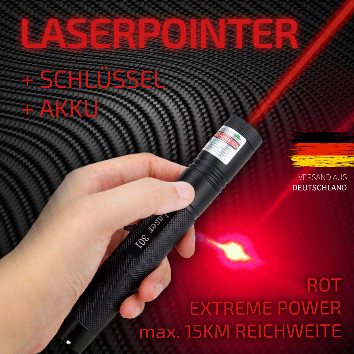 LASER POINTER BLAU VIOLETT 500m Batterien 1mW LASERPOINTER 405nm lila