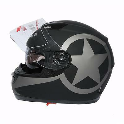 Dot Star Dual Visor Full Face Motorcycle Helmet+Sun Shield S M L XL Brand New
