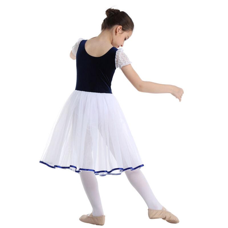 Damen Ballett Tanz Kleidung Turnanzug Body Netz Rock Gymnastik Übung Top