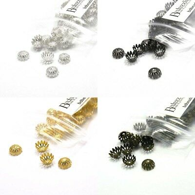 50 Round 8mm x 4mm Dome Filigree Loose Spacer Bead End Accent Caps Plated (Filigree Accent Plate)