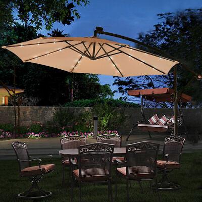 10' Hanging Solar LED Umbrella Patio Sun Shade Offset Market W/Base Beige