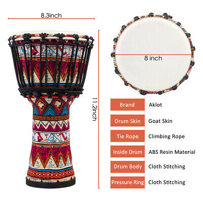Djembe African Drum 10 Inch Goat Skin Drum Head Musical Instrument for Gifts US