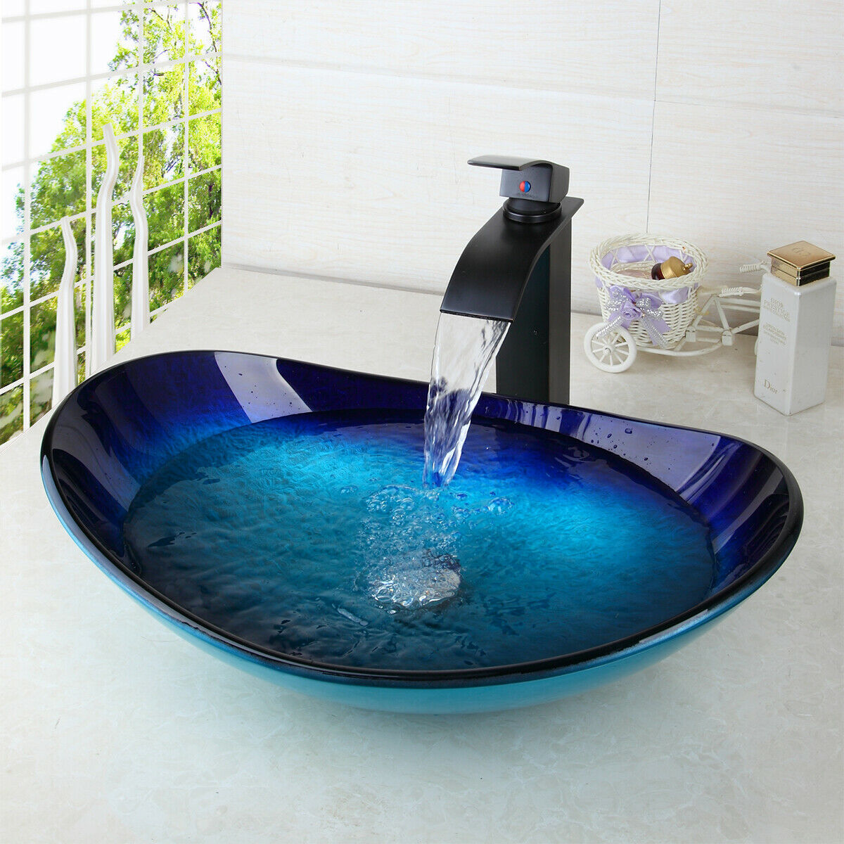 US Blue Bathroom Oval Tempered Glass Vessel Sink Black