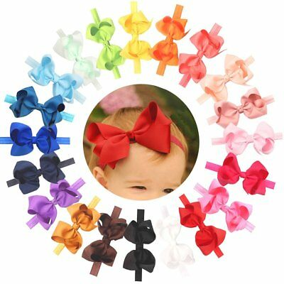 """20 Lot Baby Headbands With 4.5"""" Hair Bows Hair Bands for Infant Toddlers Big Bow"""