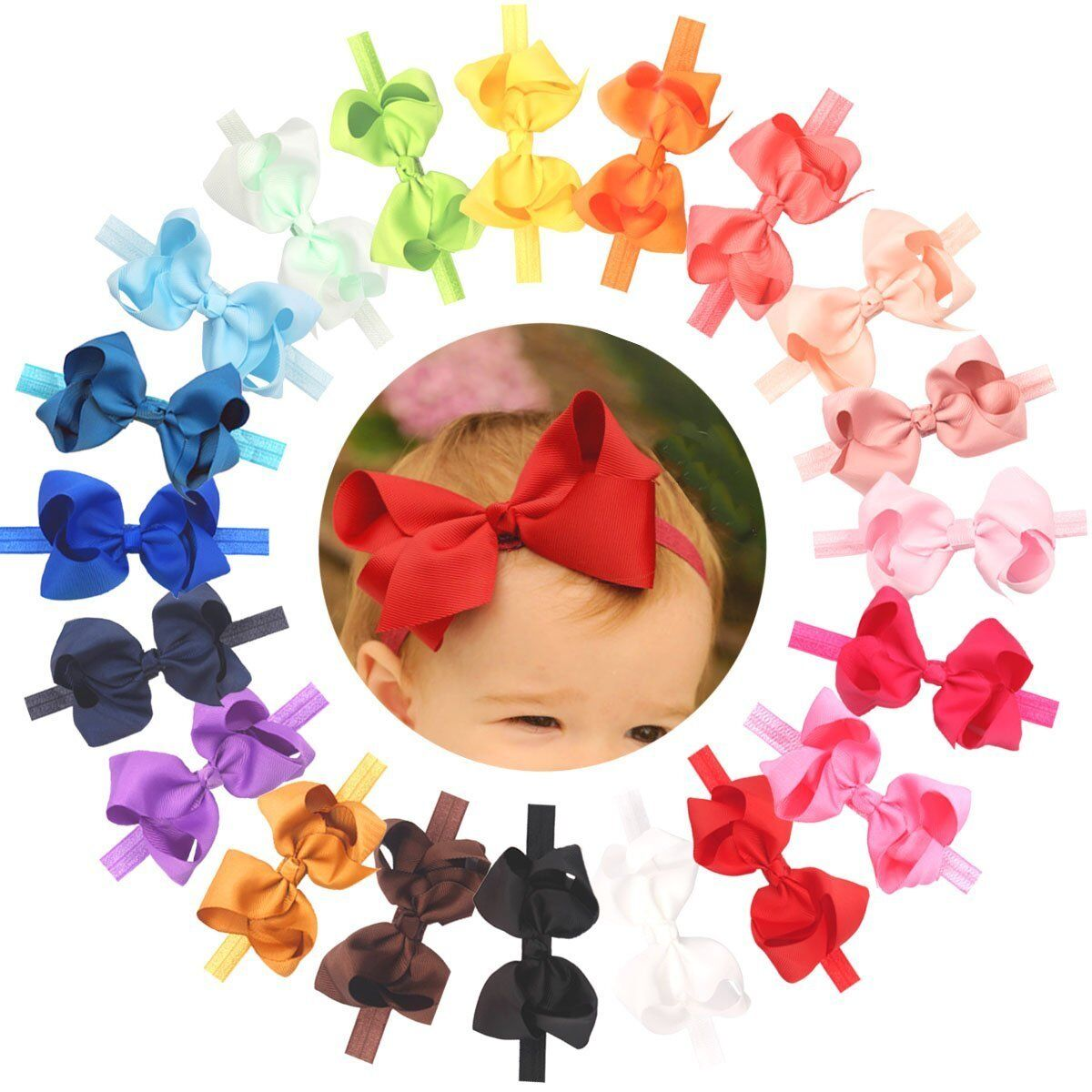 "15Pcs Baby Headbands Sparkly Glitter 4/"" Big Hair Bows Baby Girl Headbands Lot"