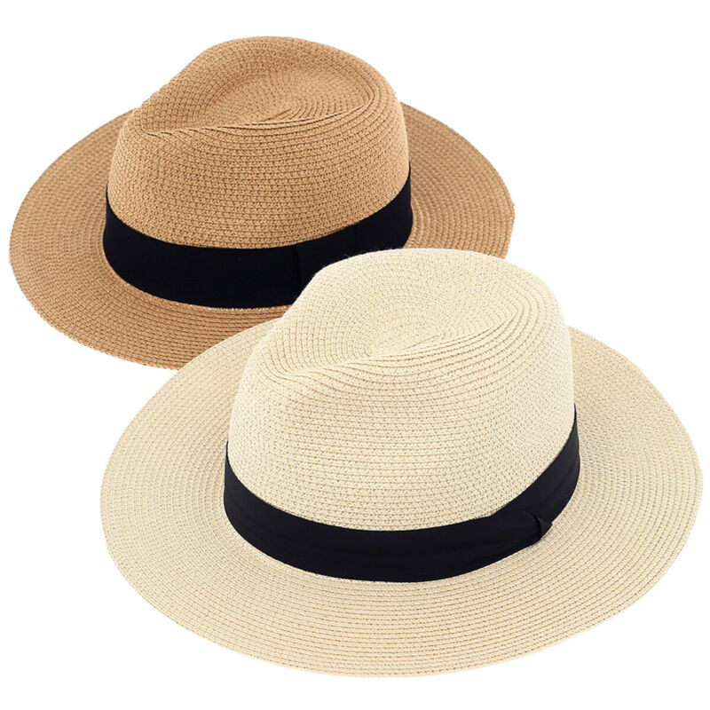 2 Packs Beach Hat for Women Summer Straw Sun Hat Panama Hat, Ivory and Tan Color