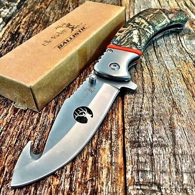 ELK RIDGE BALLISTIC Spring Assisted Open Folding Pocket Knife Camo GUT HOOK -w