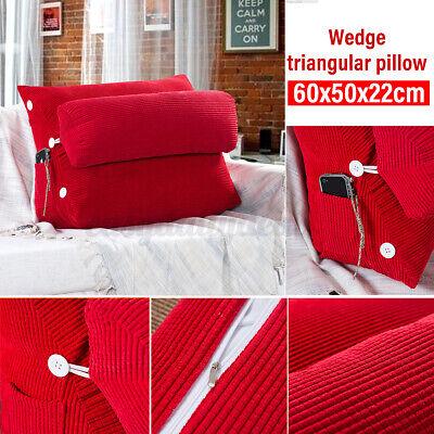 Ergonomisches Rückenkissen mit Nackenrolle Keilkissen Rot Für Sofa Bett 60x50cm
