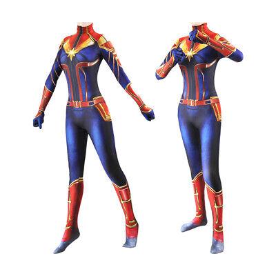 Girl Captain Costume (Women Girl Captain Marvel Cosplay Costume Jumpsuit Kids Party Bodysuit)