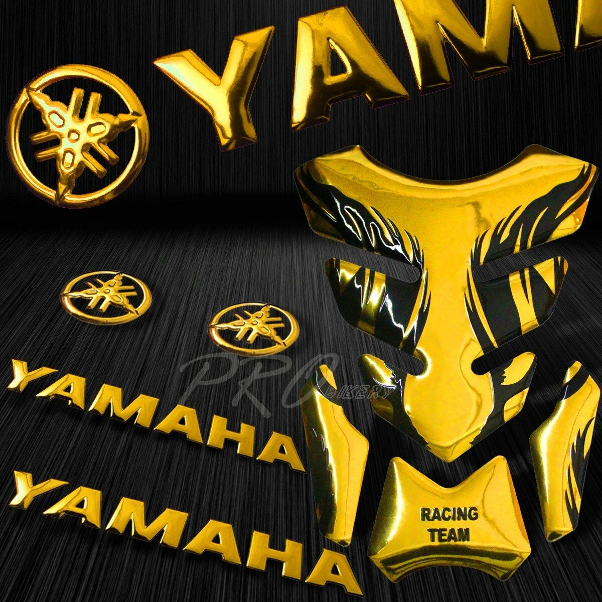 Details about chrome gold tribal fire tank pad 8for yamaha logo letter fairing emblem sticker
